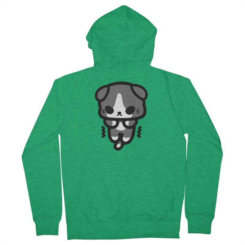 scaredy scaredy grey white kitty Men's French Terry Zip-Up Hoody by Ziqi - Monster Little