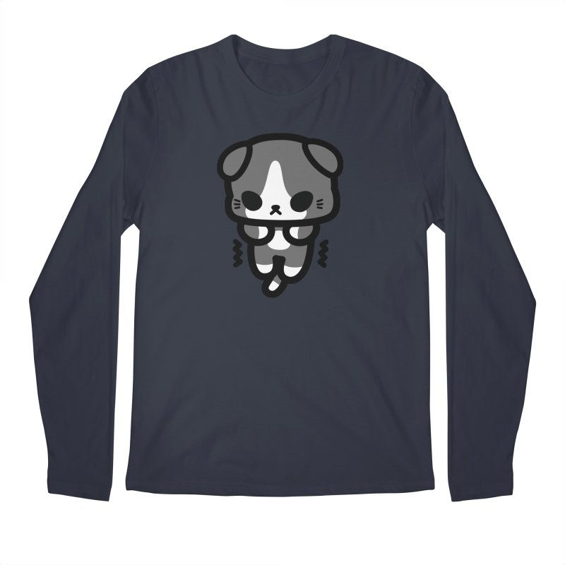 scaredy scaredy grey white kitty Men's Regular Longsleeve T-Shirt by Ziqi - Monster Little
