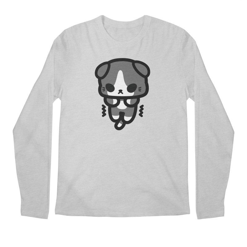 scaredy scaredy grey white kitty Men's Longsleeve T-Shirt by Ziqi - Monster Little