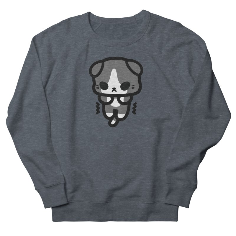 scaredy scaredy grey white kitty Men's French Terry Sweatshirt by Ziqi - Monster Little