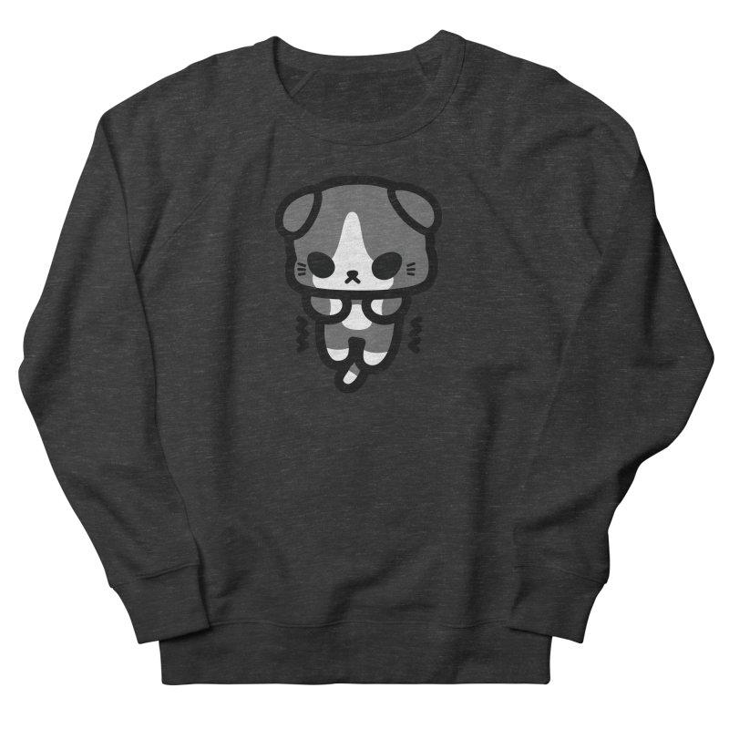 scaredy scaredy grey white kitty Men's French Terry Sweatshirt by Ziqi - Monster Little
