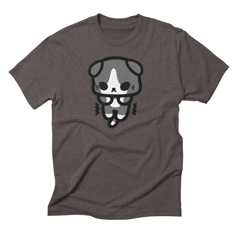scaredy scaredy grey white kitty Men's Triblend T-Shirt by Ziqi - Monster Little