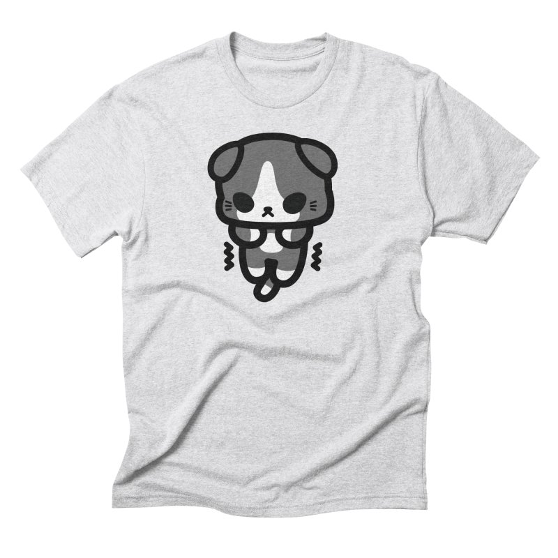 scaredy scaredy grey white kitty Men's Triblend T-Shirt by Ziqi - Monster Little