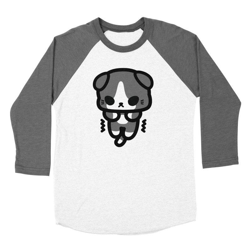 scaredy scaredy grey white kitty Women's Baseball Triblend Longsleeve T-Shirt by Ziqi - Monster Little