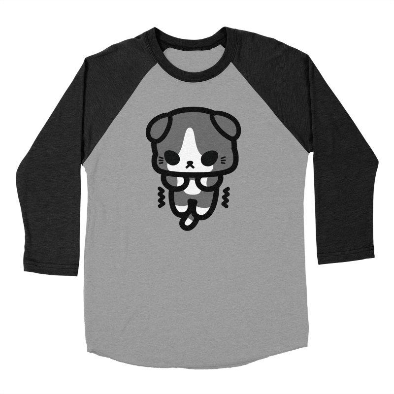 scaredy scaredy grey white kitty Women's Baseball Triblend T-Shirt by Ziqi - Monster Little