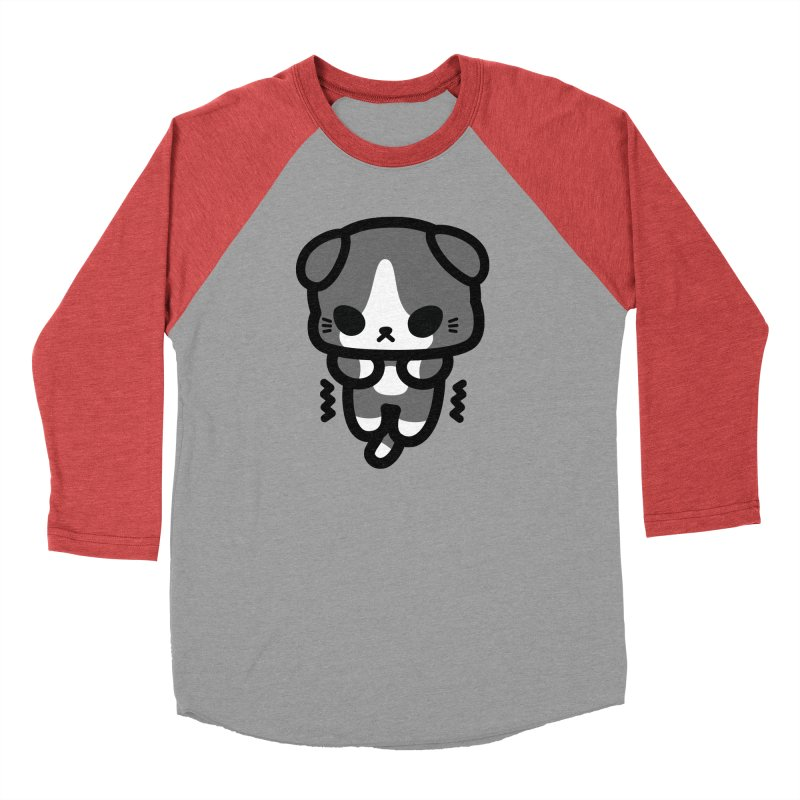 scaredy scaredy grey white kitty Men's Baseball Triblend T-Shirt by Ziqi - Monster Little