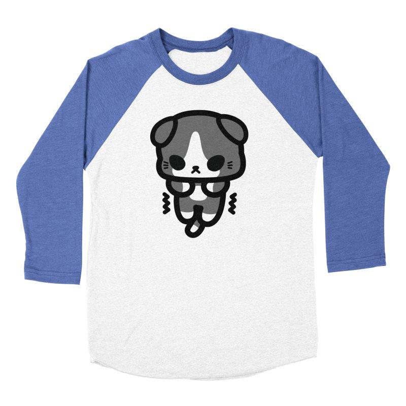 scaredy scaredy grey white kitty Men's Baseball Triblend Longsleeve T-Shirt by Ziqi - Monster Little