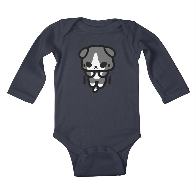scaredy scaredy grey white kitty Kids Baby Longsleeve Bodysuit by Ziqi - Monster Little