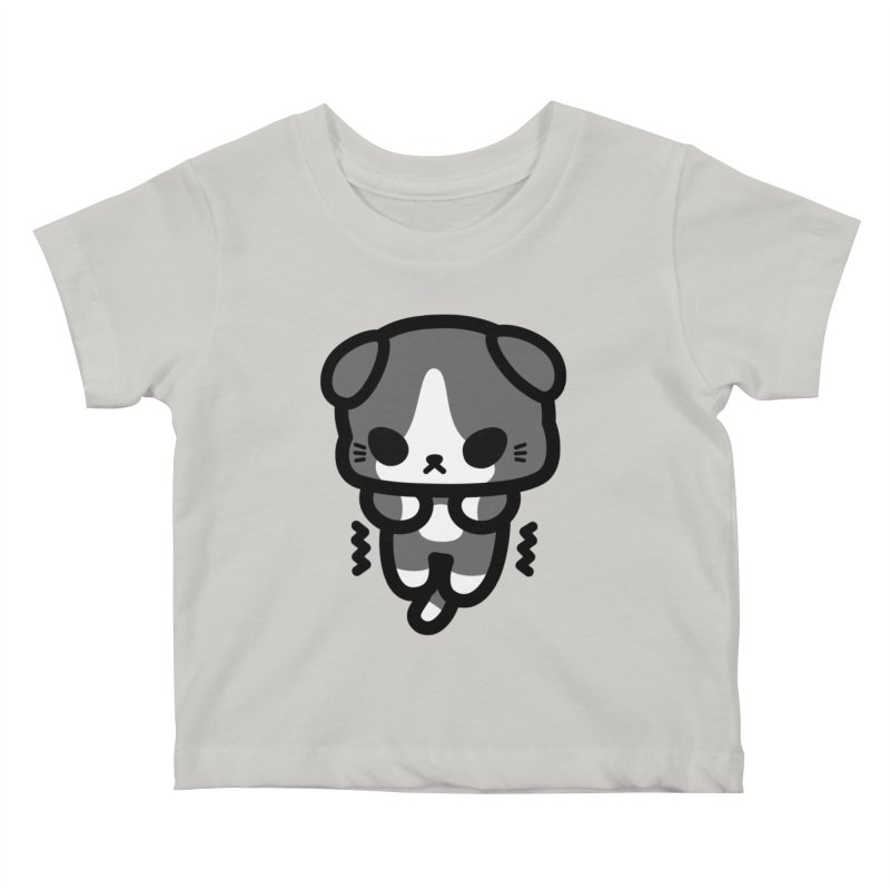 scaredy scaredy grey white kitty Kids Baby T-Shirt by Ziqi - Monster Little