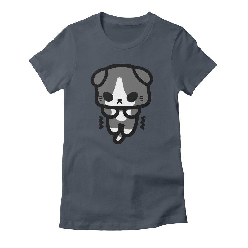 scaredy scaredy grey white kitty Women's T-Shirt by Ziqi - Monster Little