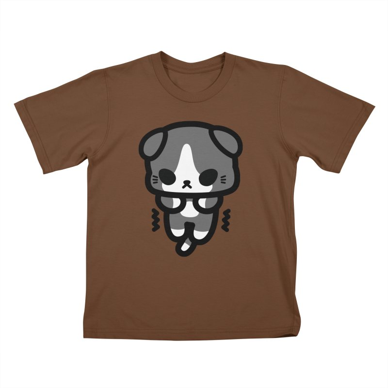 scaredy scaredy grey white kitty Kids T-Shirt by Ziqi - Monster Little