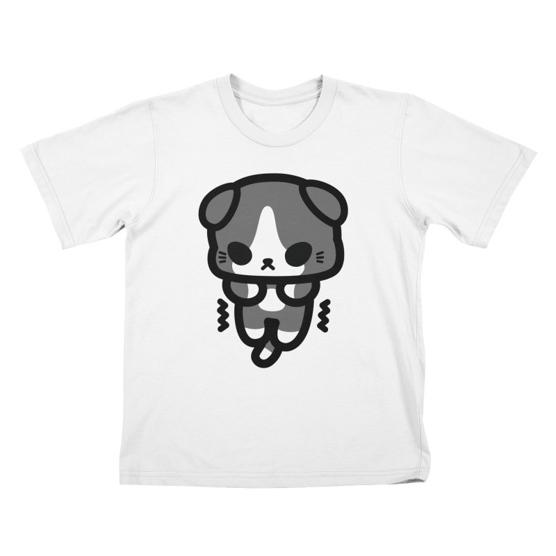 scaredy scaredy grey white kitty Kids T-Shirt by Ziqi - Monster Little