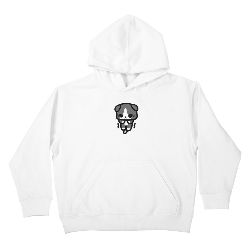 scaredy scaredy grey white kitty Kids Pullover Hoody by Ziqi - Monster Little