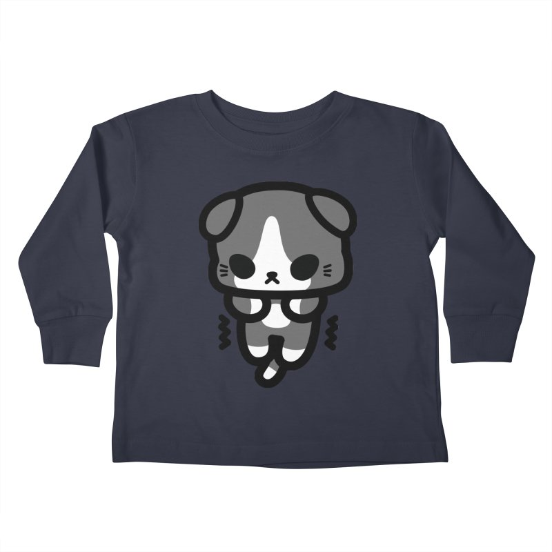 scaredy scaredy grey white kitty Kids Toddler Longsleeve T-Shirt by Ziqi - Monster Little