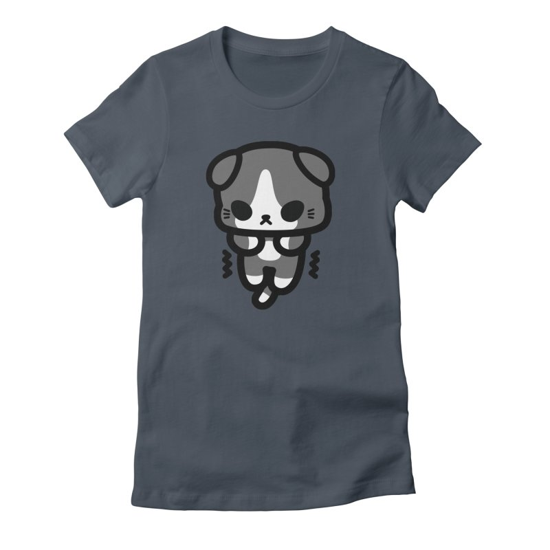 scaredy scaredy grey white kitty Women's T-Shirt by Ziqi - Monster Little