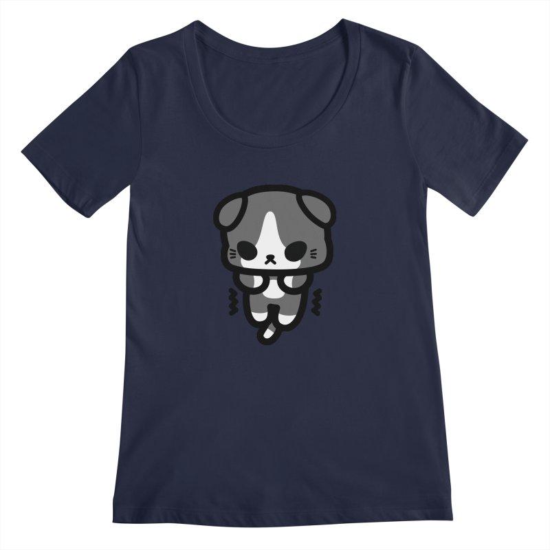 scaredy scaredy grey white kitty Women's Regular Scoop Neck by Ziqi - Monster Little