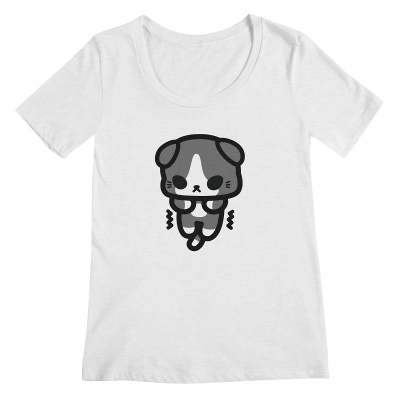 scaredy scaredy grey white kitty Women's Regular Scoop Neck by Ziqi - Monster Little