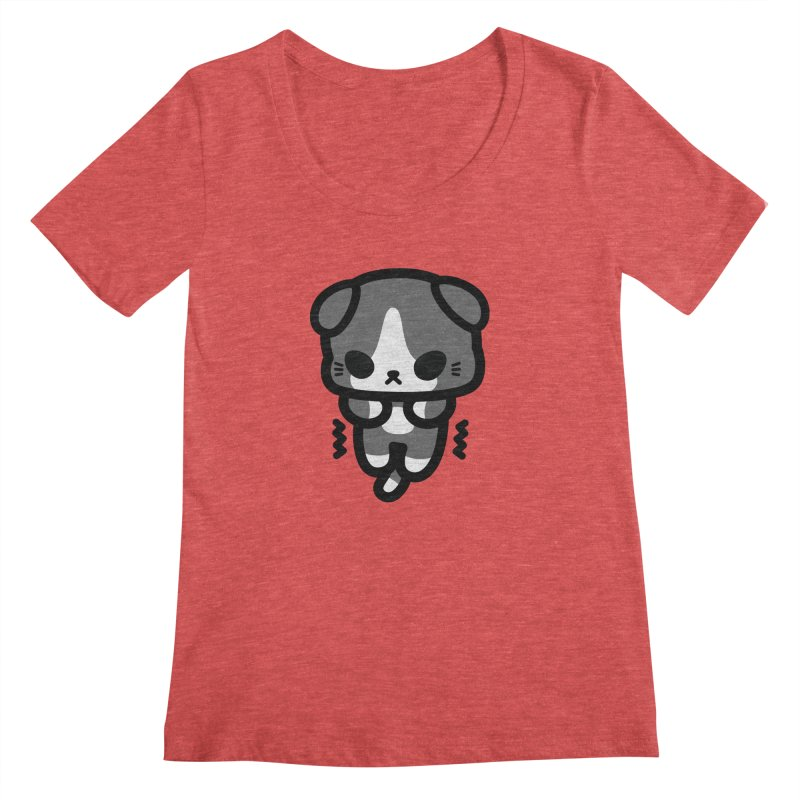scaredy scaredy grey white kitty Women's Scoopneck by Ziqi - Monster Little
