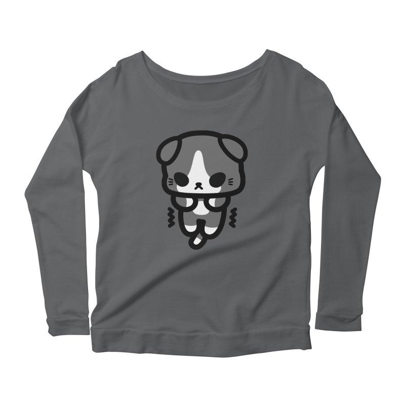 scaredy scaredy grey white kitty Women's Scoop Neck Longsleeve T-Shirt by Ziqi - Monster Little