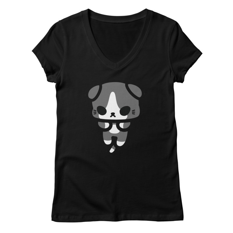 scaredy scaredy grey white kitty Women's Regular V-Neck by Ziqi - Monster Little