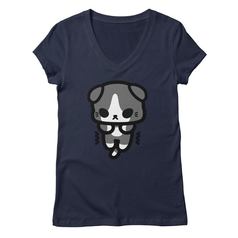 scaredy scaredy grey white kitty Women's Regular V-Neck by Ziqi - Monster Little