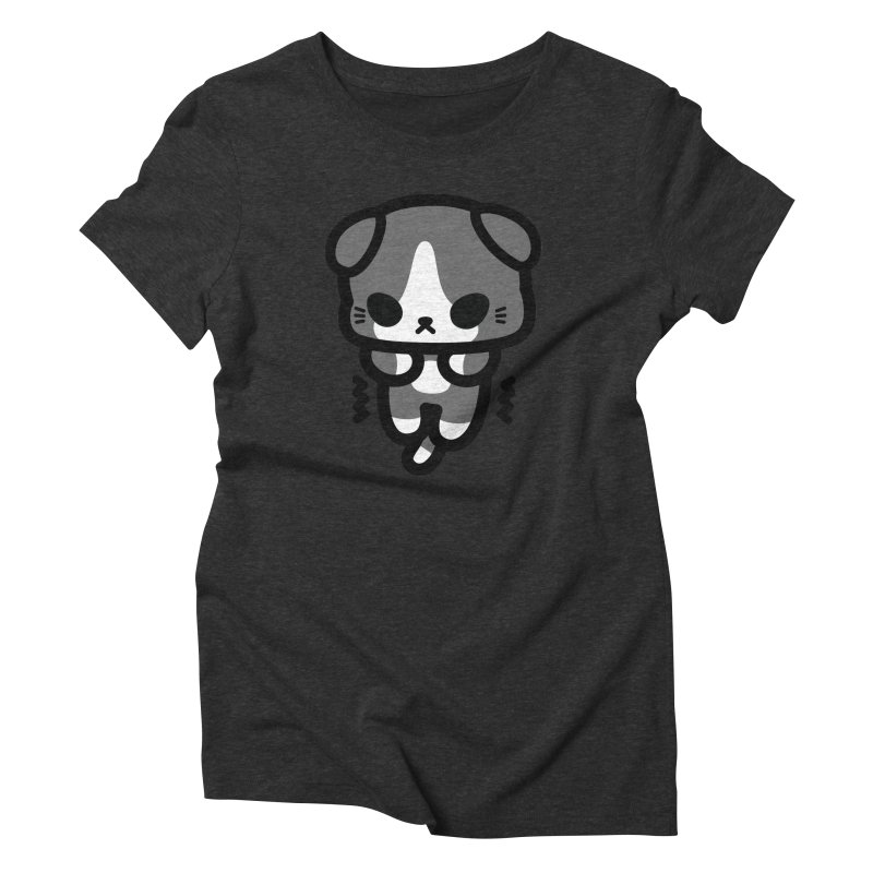 scaredy scaredy grey white kitty Women's Triblend T-Shirt by Ziqi - Monster Little