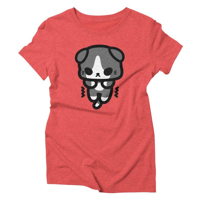 scaredy scaredy grey white kitty Women's Triblend T-Shirt by Ziqi - Monster Little