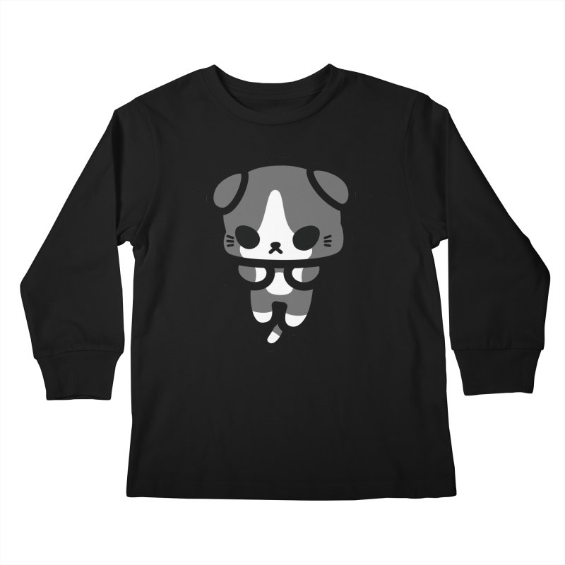 scaredy scaredy grey white kitty Kids Longsleeve T-Shirt by Ziqi - Monster Little