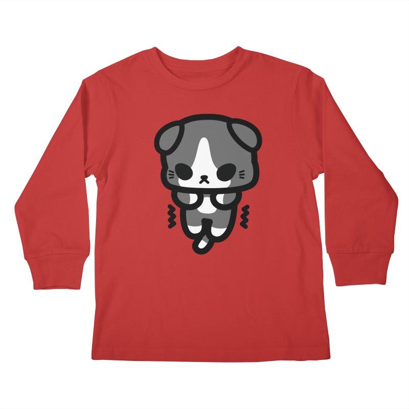 scaredy scaredy grey white kitty Kids Longsleeve T-Shirt by Ziqi - Monster Little