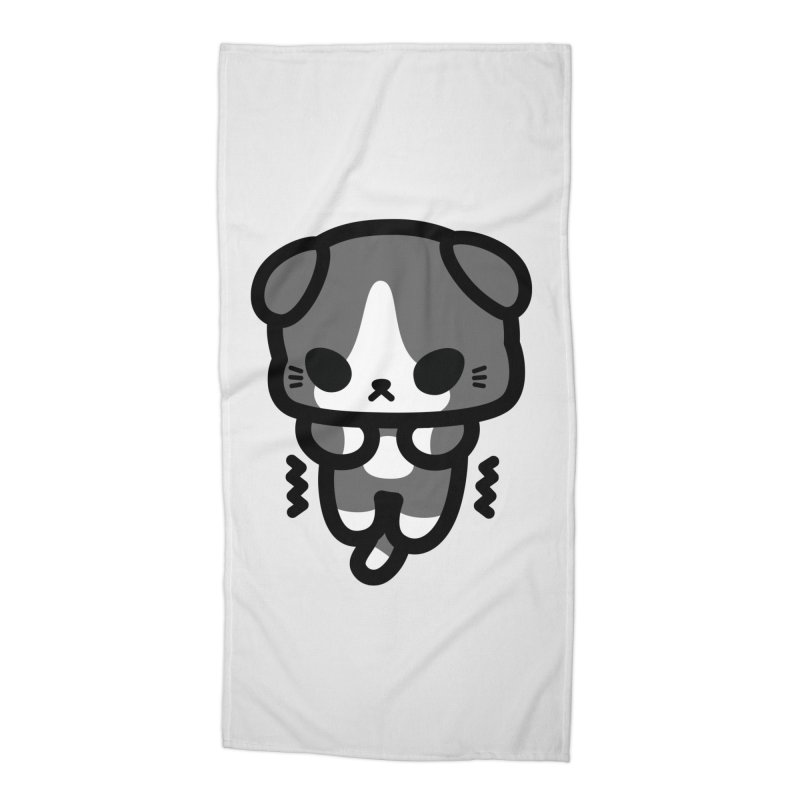 scaredy scaredy grey white kitty Accessories Beach Towel by Ziqi - Monster Little