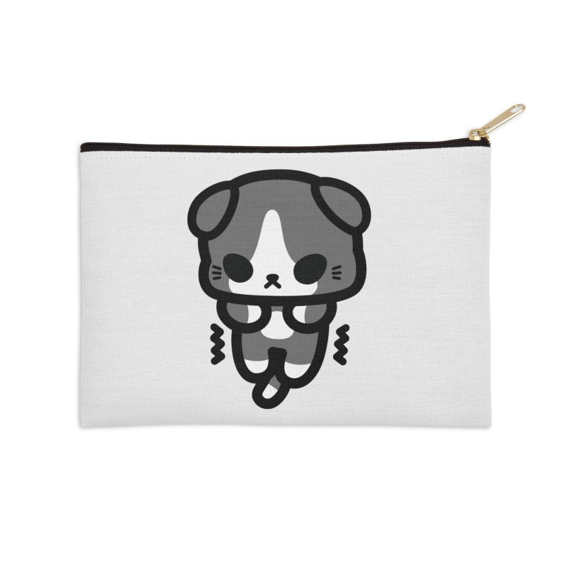 scaredy scaredy grey white kitty Accessories Zip Pouch by Ziqi - Monster Little