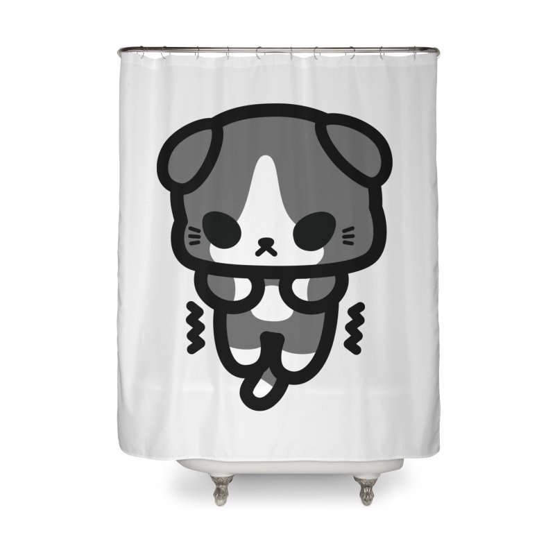 scaredy scaredy grey white kitty Home Shower Curtain by Ziqi - Monster Little