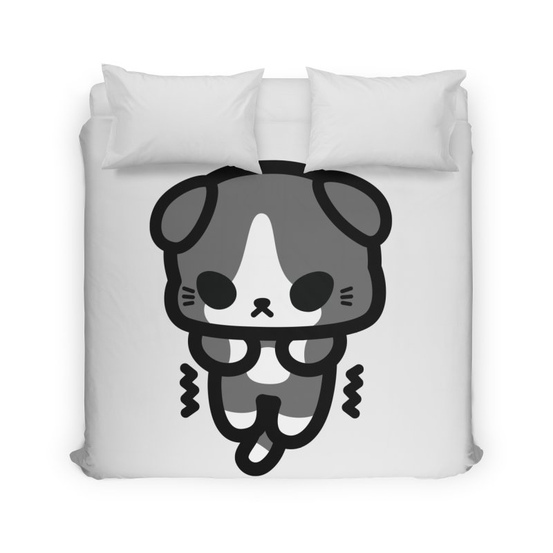 scaredy scaredy grey white kitty Home Duvet by Ziqi - Monster Little