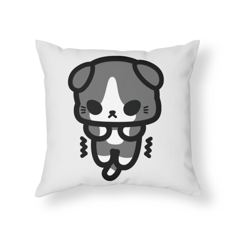 scaredy scaredy grey white kitty Home Throw Pillow by Ziqi - Monster Little