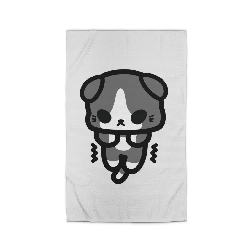 scaredy scaredy grey white kitty Home Rug by Ziqi - Monster Little