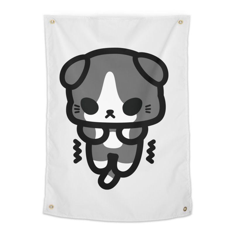 scaredy scaredy grey white kitty Home Tapestry by Ziqi - Monster Little