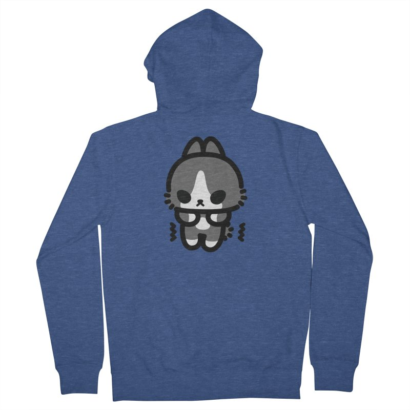 scaredy scaredy grey white bunny Women's French Terry Zip-Up Hoody by Ziqi - Monster Little