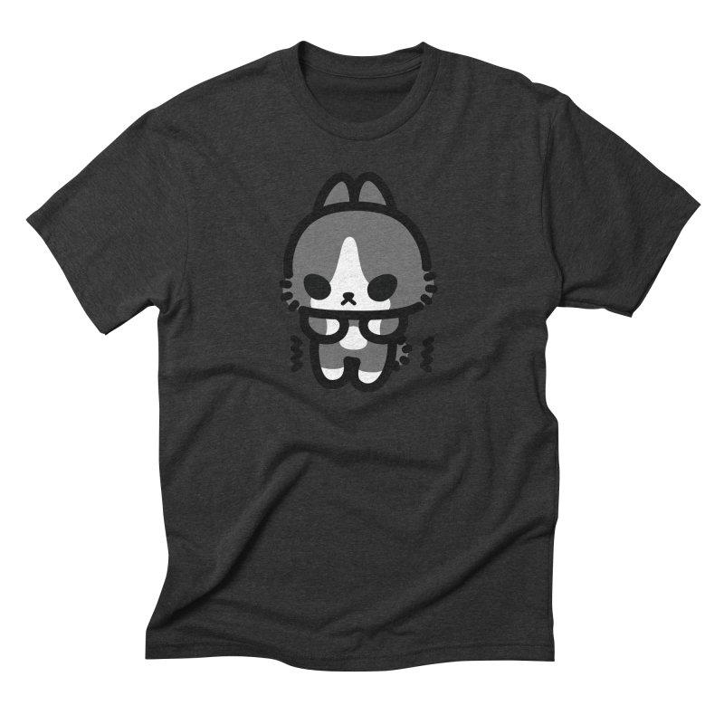 scaredy scaredy grey white bunny Men's Triblend T-Shirt by Ziqi - Monster Little