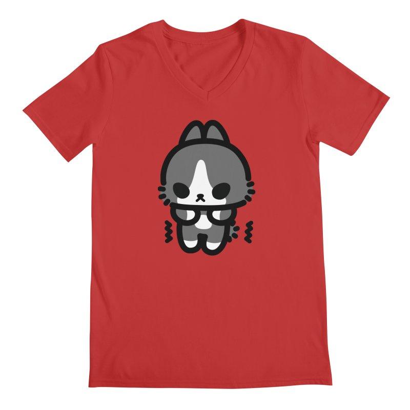 scaredy scaredy grey white bunny Men's Regular V-Neck by Ziqi - Monster Little