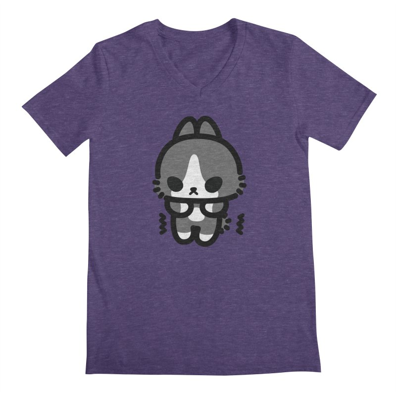 scaredy scaredy grey white bunny Men's V-Neck by Ziqi - Monster Little