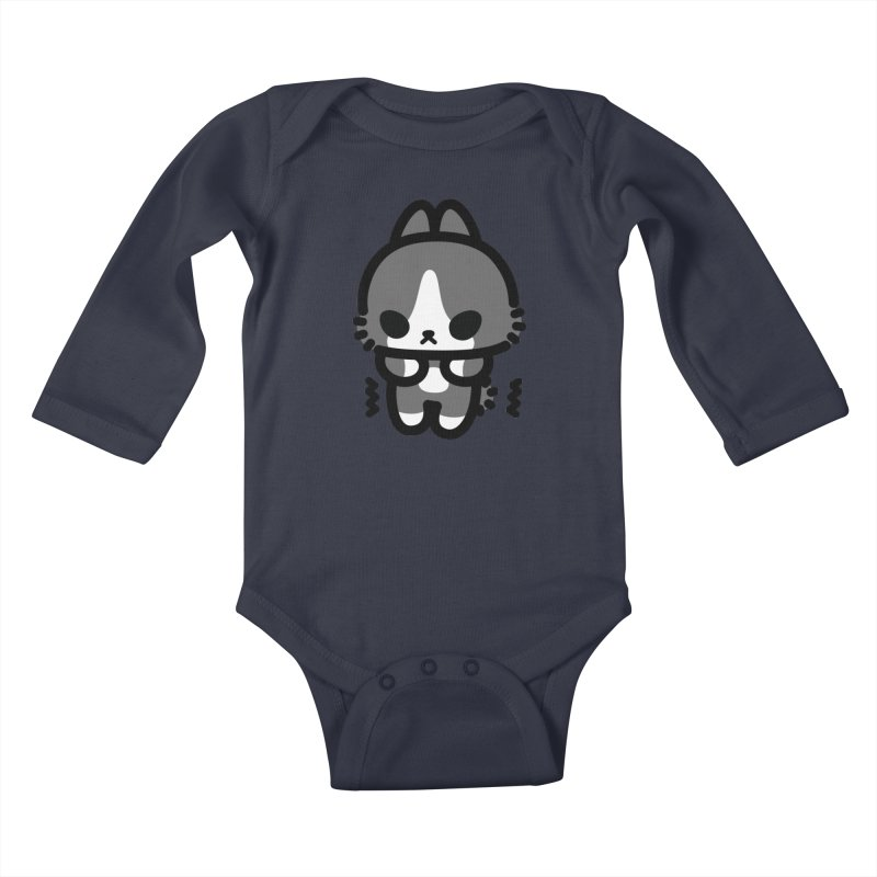 scaredy scaredy grey white bunny Kids Baby Longsleeve Bodysuit by Ziqi - Monster Little