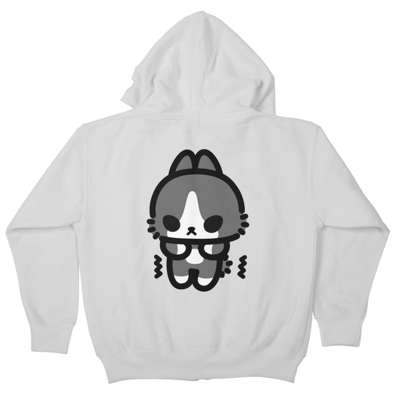 scaredy scaredy grey white bunny Kids Zip-Up Hoody by Ziqi - Monster Little