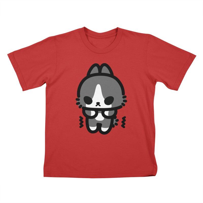 scaredy scaredy grey white bunny Kids T-Shirt by Ziqi - Monster Little