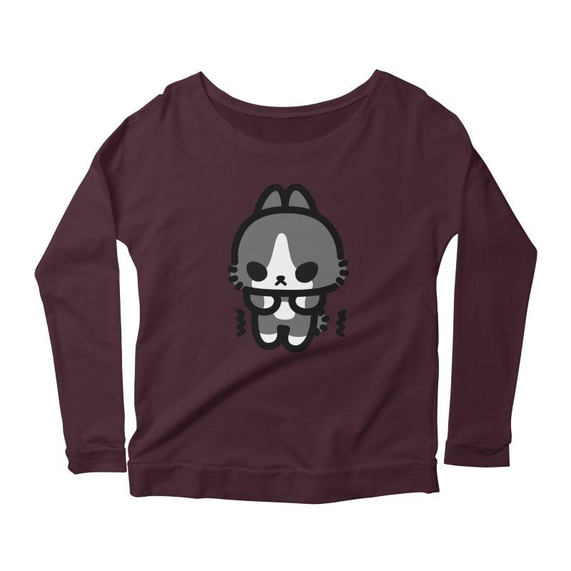 scaredy scaredy grey white bunny Women's Scoop Neck Longsleeve T-Shirt by Ziqi - Monster Little