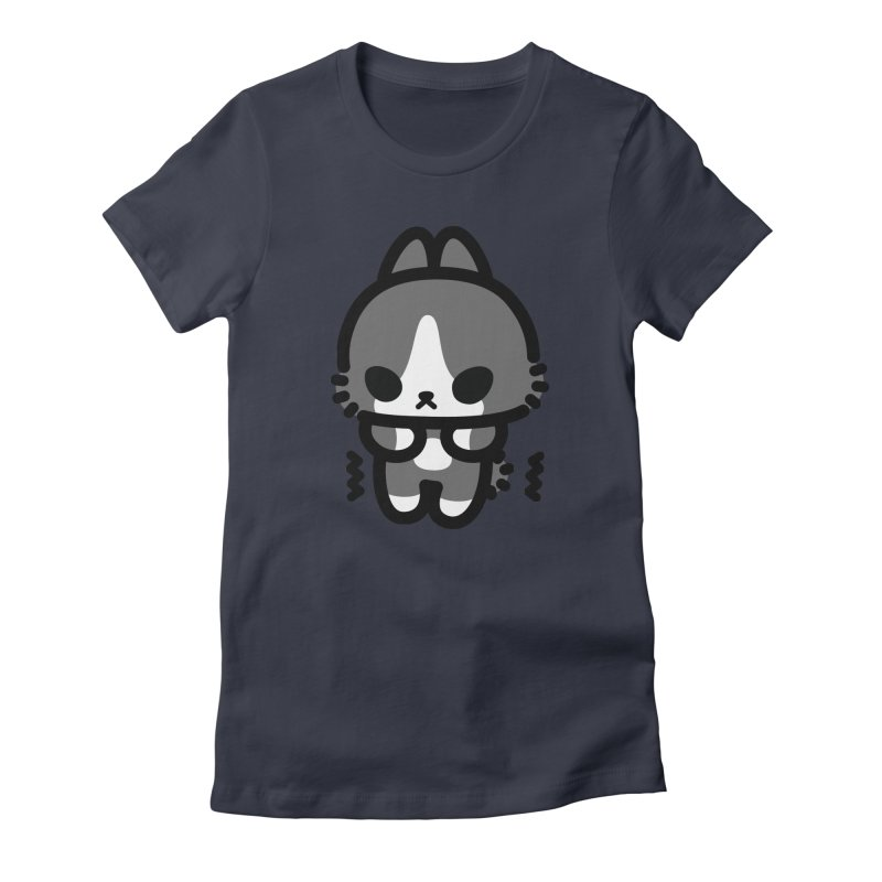 scaredy scaredy grey white bunny Women's Fitted T-Shirt by Ziqi - Monster Little