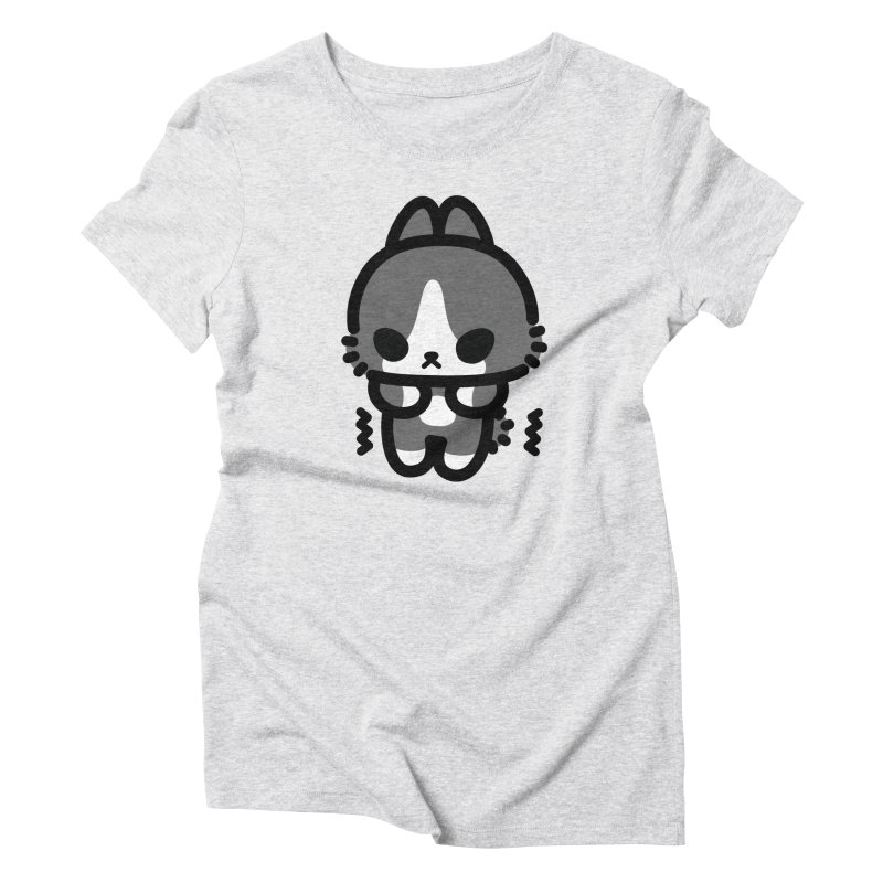 scaredy scaredy grey white bunny Women's Triblend T-Shirt by Ziqi - Monster Little