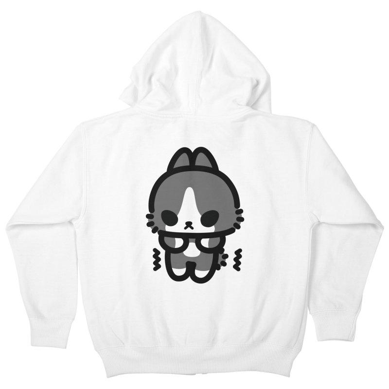 scaredy scaredy grey white bunny Kids Zip-Up Hoody by Ziqi - Monster Little