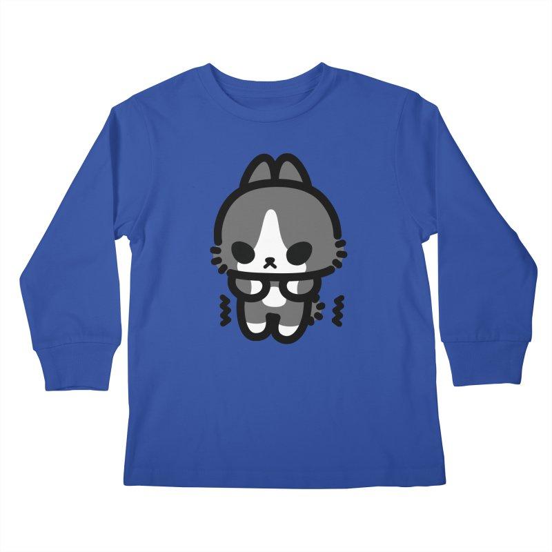 scaredy scaredy grey white bunny Kids Longsleeve T-Shirt by Ziqi - Monster Little