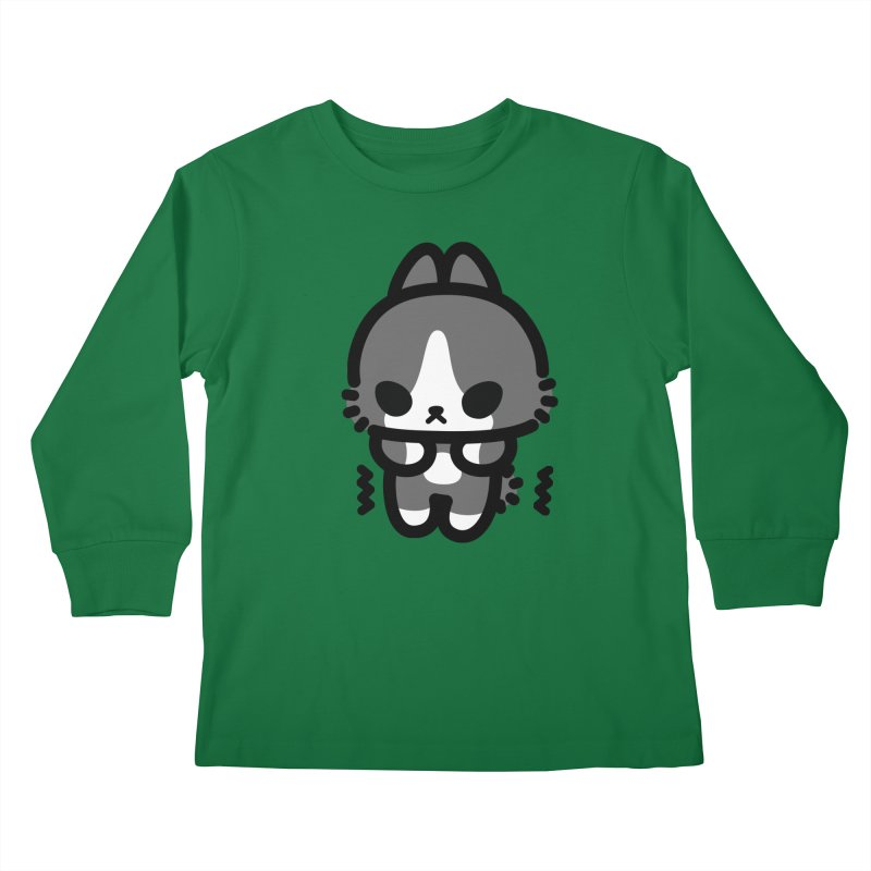 scaredy scaredy grey white bunny Kids Longsleeve T-Shirt by Ziqi - Monster Little