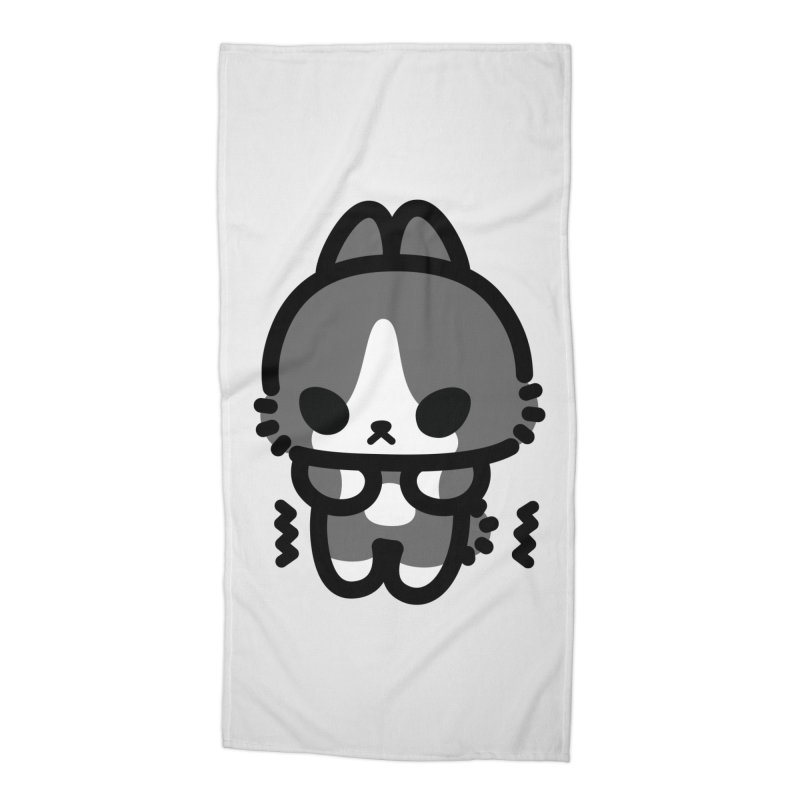 scaredy scaredy grey white bunny Accessories Beach Towel by Ziqi - Monster Little